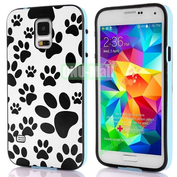 Fashionable 2 in 1 Pattern TPU and PC Back Hard Case for Samsung Galaxy S5 I9600 (Paw Print)