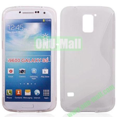 2014 New Arrival S line Style Transparent TPU Case for Samsung Galaxy S5 (White)