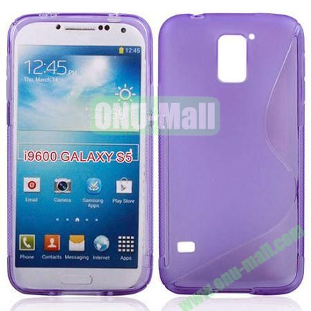 2014 New Arrival S line Style Transparent TPU Case for Samsung Galaxy S5 (Purple)