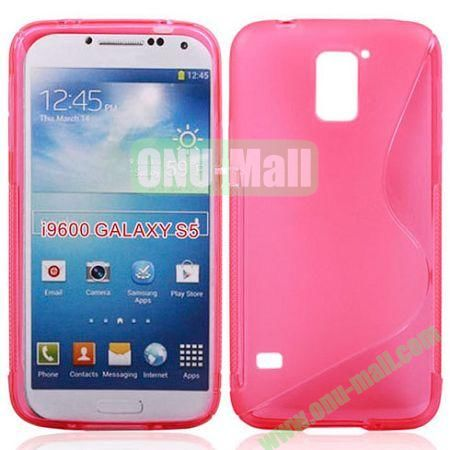 2014 New Arrival S line Style Transparent TPU Case for Samsung Galaxy S5 (Pink)