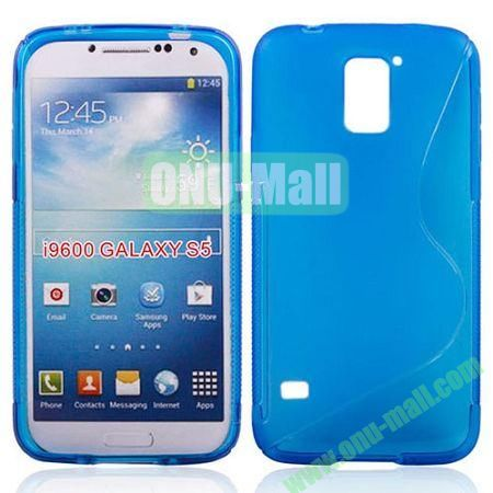 2014 New Arrival S line Style Transparent TPU Case for Samsung Galaxy S5 (Blue)