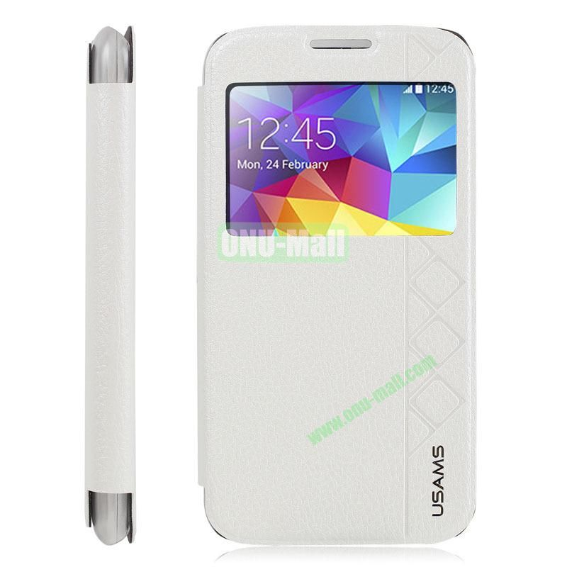 USAMS Brand High Quality Leather Case for Samsung Galaxy S5 i9500X with stand (White)