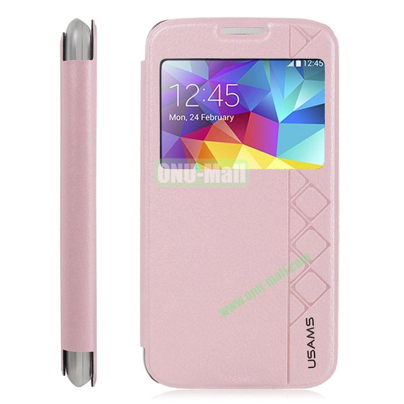 USAMS Brand High Quality Leather Case for Samsung Galaxy S5 i9500X with stand (Pink)