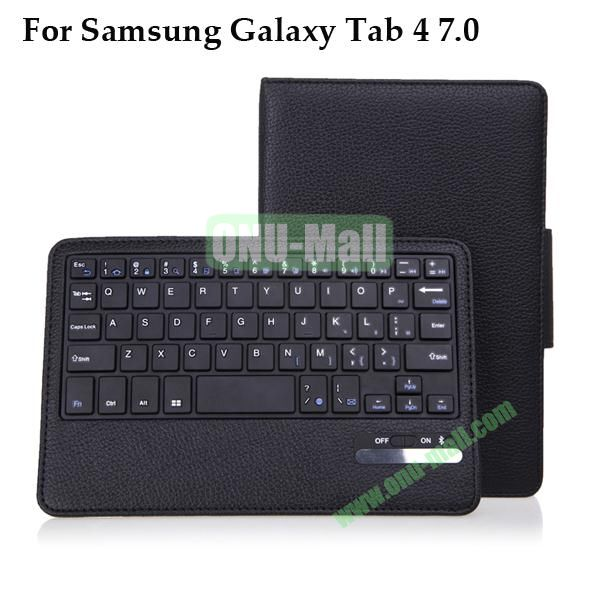 Removable Wireless Bluetooth Keyboard for Samsung Galaxy Tab 4 7.0 T230 with Foldable Leather Case