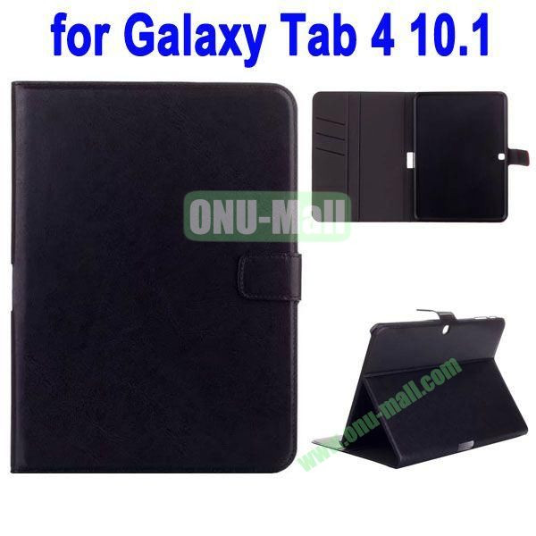 Crazy Horse Texture Stand Cover for Samsung Galaxy Tab 4 10.1 T530 with Credit Card Slots and Stand (Black)