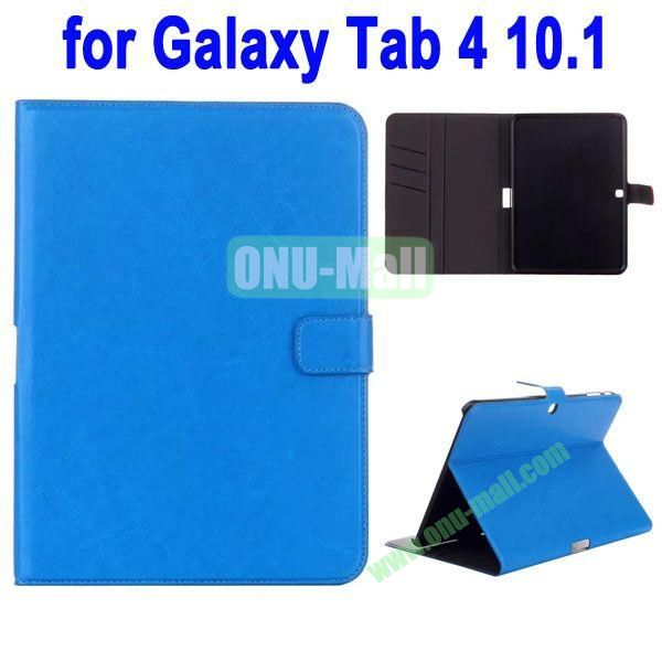 Crazy Horse Texture Stand Cover for Samsung Galaxy Tab 4 10.1 T530 with Credit Card Slots and Stand (Blue)