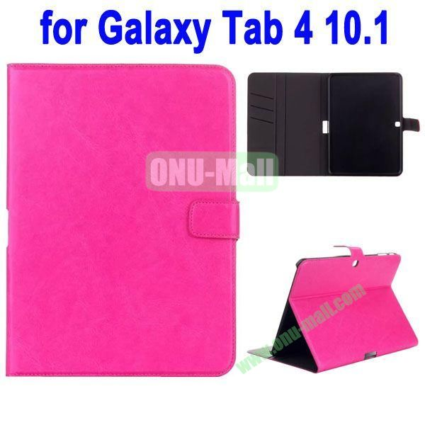 Crazy Horse Texture Stand Cover for Samsung Galaxy Tab 4 10.1 T530 with Credit Card Slots and Stand (Pink)