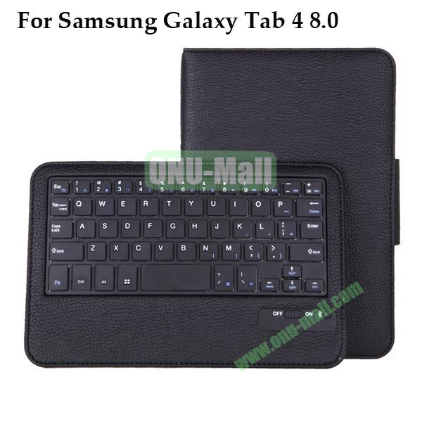 Removable Wireless Bluetooth Keyboard for Samsung Galaxy Tab 4 8.0 T330 with Foldable Leather Case
