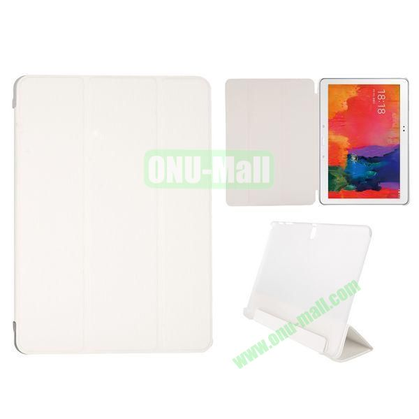 Toothpick Grain 3 Folding Stand Leather Case for Samsung Galaxy Tab Pro 10.1 T520 with Transparent Back Cover (White)