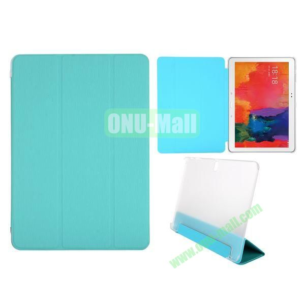 Toothpick Grain 3 Folding Stand Leather Case for Samsung Galaxy Tab Pro 10.1 T520 with Transparent Back Cover (Blue)