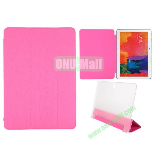 Toothpick Grain 3 Folding Stand Leather Case for Samsung Galaxy Tab Pro 10.1 T520 with Transparent Back Cover (Pink)
