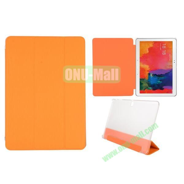 Toothpick Grain 3 Folding Stand Leather Case for Samsung Galaxy Tab Pro 10.1 T520 with Transparent Back Cover (Orange)