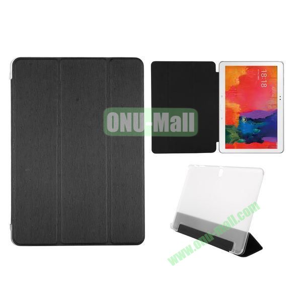 Toothpick Grain 3 Folding Stand Leather Case for Samsung Galaxy Tab Pro 10.1 T520 with Transparent Back Cover (Black)