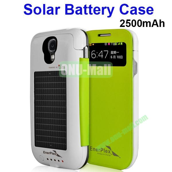 2500mAh Solar Battery Case for Samsung Galaxy S4 i9500 (Green)