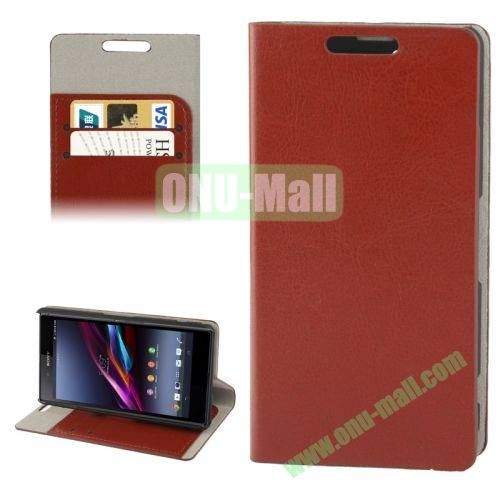 Crazy Horse Texture Leather Case for Sony Xperia Z1S  Z1 Mini with Credit Card Slot & Holder (Brown)