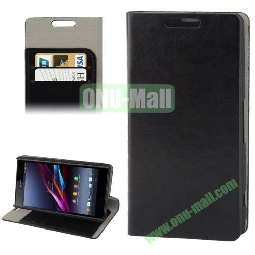 Crazy Horse Texture Leather Case for Sony Xperia Z1S  Z1 Mini with Credit Card Slot & Holder (Black)
