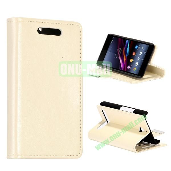 Crazy Horse Texture Leather Case for Sony Xperia E1 with Credit Card Slots  (White)