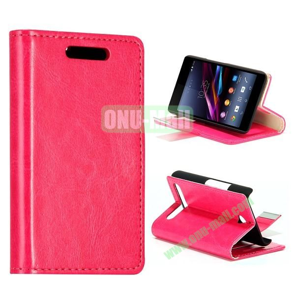 Crazy Horse Texture Leather Case for Sony Xperia E1 with Credit Card Slots  (Pink)