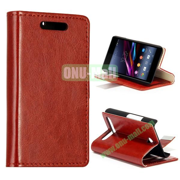 Crazy Horse Texture Leather Case for Sony Xperia E1 with Credit Card Slots  (Brown)