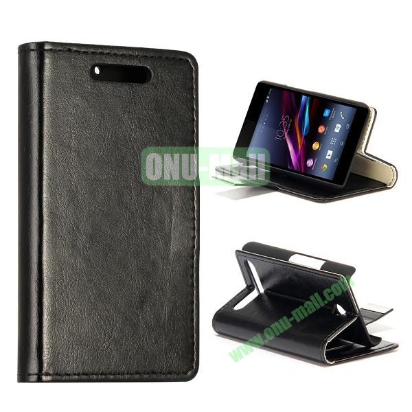 Crazy Horse Texture Leather Case for Sony Xperia E1 with Credit Card Slots  (Black)