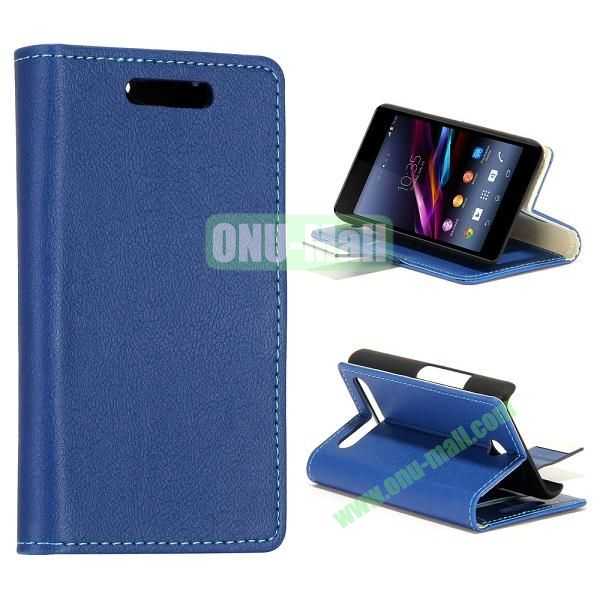 Small Stone Texture Leather Case for Sony Xperia E1 with Credit Card Slots (Blue)