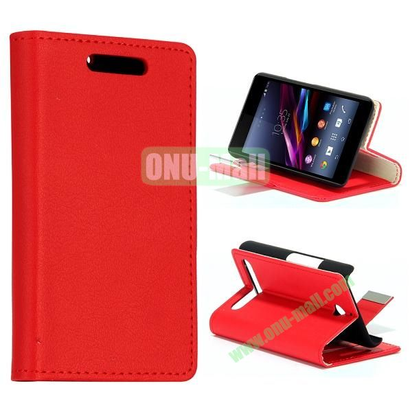 Small Stone Texture Leather Case for Sony Xperia E1 with Credit Card Slots (Red)