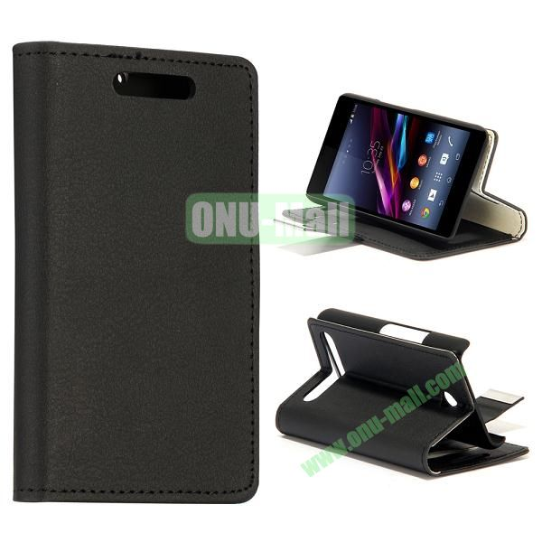 Small Stone Texture Leather Case for Sony Xperia E1 with Credit Card Slots (Black)