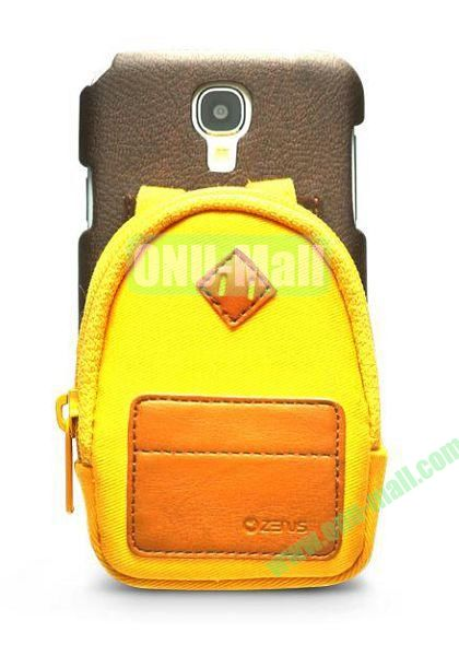 Newest Fashionable 3D Mini Backpack Case Detachable Bag Hard Back Cover For Samsung Galaxy S4 i9500(Yellow)