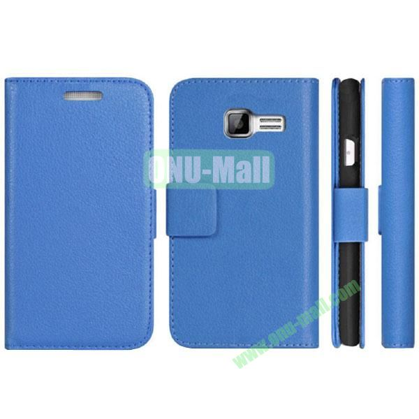 Litchi Texture Pattern Wallet PU Leather Case for Samsung Galaxy S7262 with Stand and 3 Card Slots(Blue)