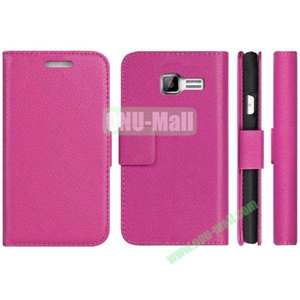 Litchi Texture Pattern Wallet PU Leather Case for Samsung Galaxy S7262 with Stand and 3 Card Slots(Pink)