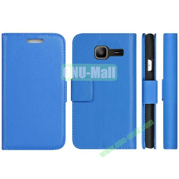 Litchi Texture Pattern Wallet PU Leather Case for Samsung Galaxy S7292 with Stand and 2 Card Slots (Blue)