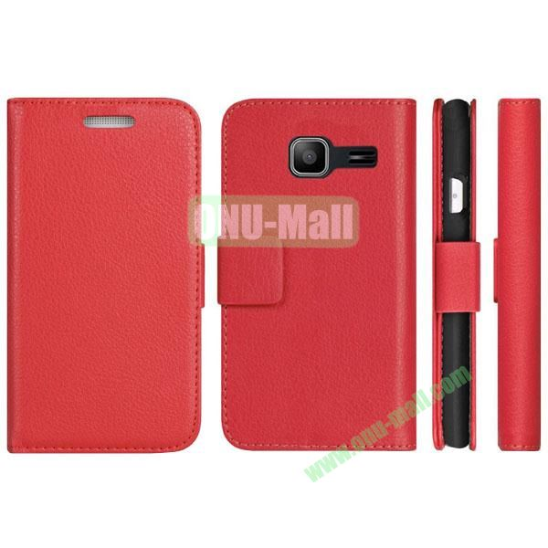 Litchi Texture Pattern Wallet PU Leather Case for Samsung Galaxy S7292 with Stand and 2 Card Slots (Red)