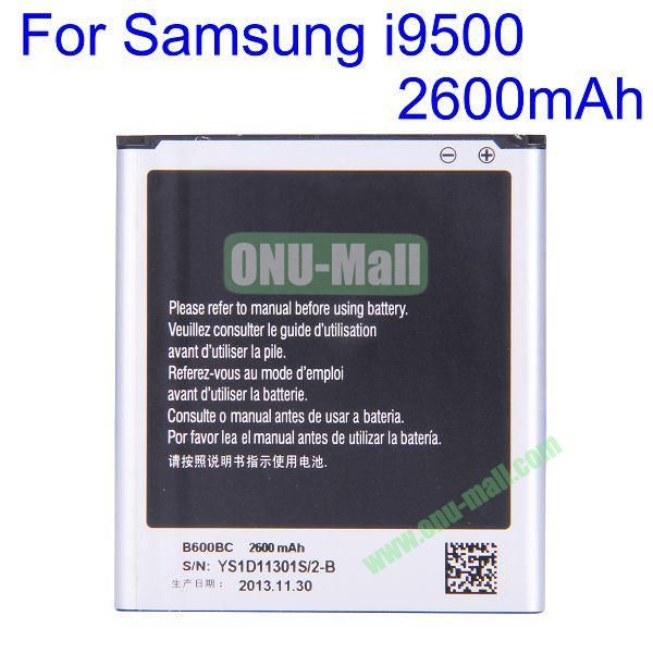 Durable and Rechargeable Li-ion Battery for Samsung Galaxy S4 I9500 (2600mAh 3.8V )