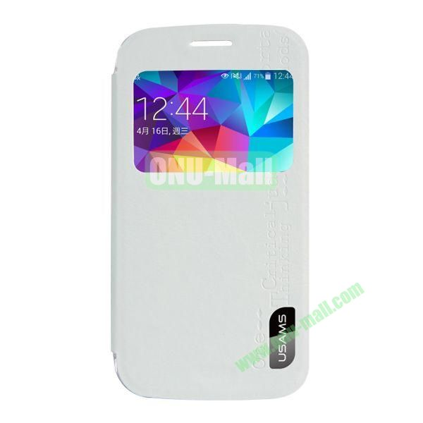 USAMS Series Transparent PC + PU Leather Case for Samsung Galaxy S5 Zoom  C1158 with Caller ID Display Window (White)
