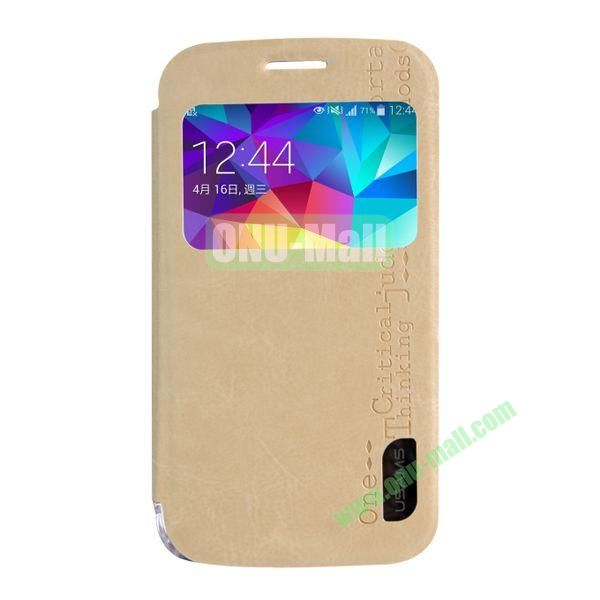 USAMS Series Transparent PC + PU Leather Case for Samsung Galaxy S5 Zoom  C1158 with Caller ID Display Window (Champagne Gold)