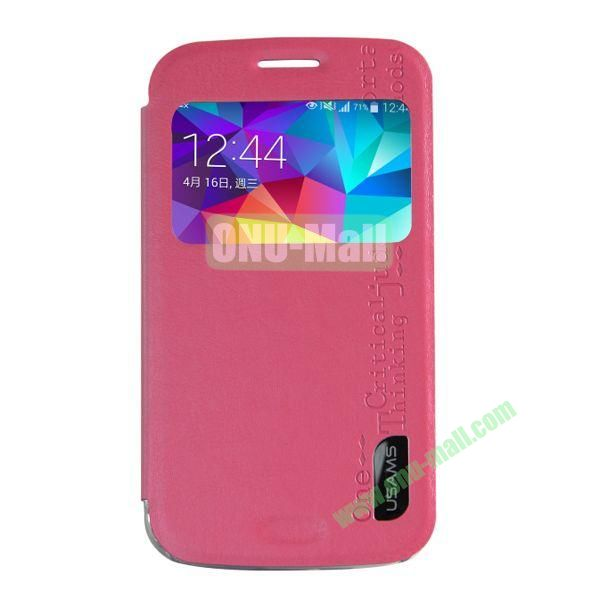 USAMS Series Transparent PC + PU Leather Case for Samsung Galaxy S5 Zoom  C1158 with Caller ID Display Window (Rose)