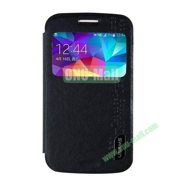 USAMS Series Transparent PC + PU Leather Case for Samsung Galaxy S5 Zoom  C1158 with Caller ID Display Window (Black)