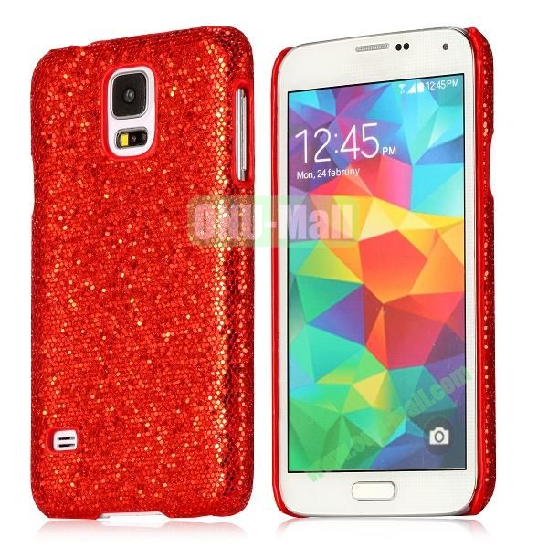 Hard Case with Glittering Powder Leather Coated for Samsung Galaxy S5 i9600 (Red)