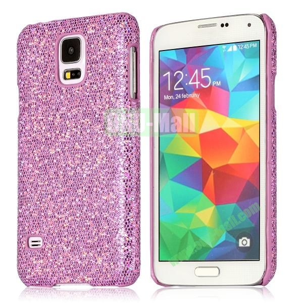 Hard Case with Glittering Powder Leather Coated for Samsung Galaxy S5 i9600 (Light Purple)
