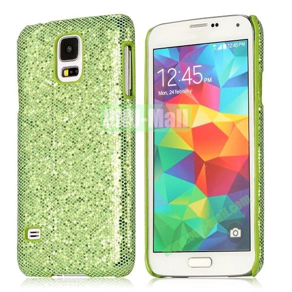 Hard Case with Glittering Powder Leather Coated for Samsung Galaxy S5 i9600 (Green)