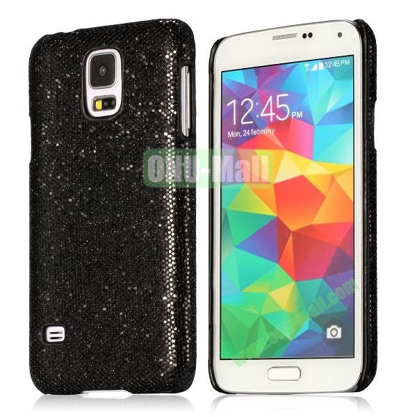 Hard Case with Glittering Powder Leather Coated for Samsung Galaxy S5 i9600 (Black)
