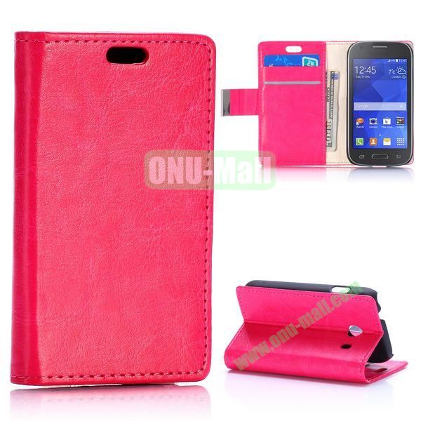 Crazy Horse Texture with Card Slots Flip Leather Case for Samsung Galaxy Ace Style G310 (Rose)