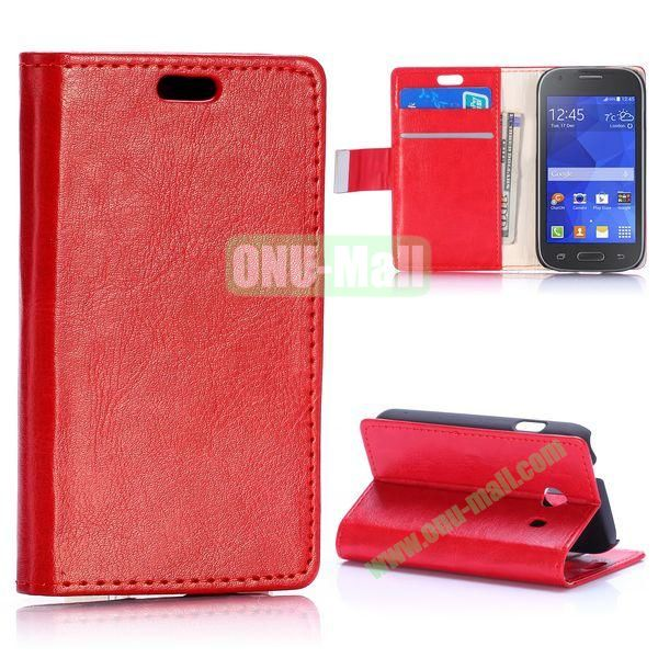 Crazy Horse Texture with Card Slots Flip Leather Case for Samsung Galaxy Ace Style G310 (Red)