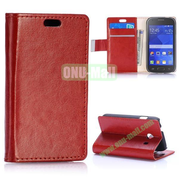 Crazy Horse Texture with Card Slots Flip Leather Case for Samsung Galaxy Ace Style G310 (Brown)