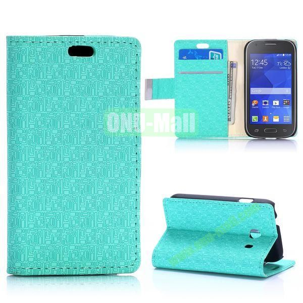Maze Pattern Flip Leather Case for Samsung Galaxy Ace Style G310 (Green)