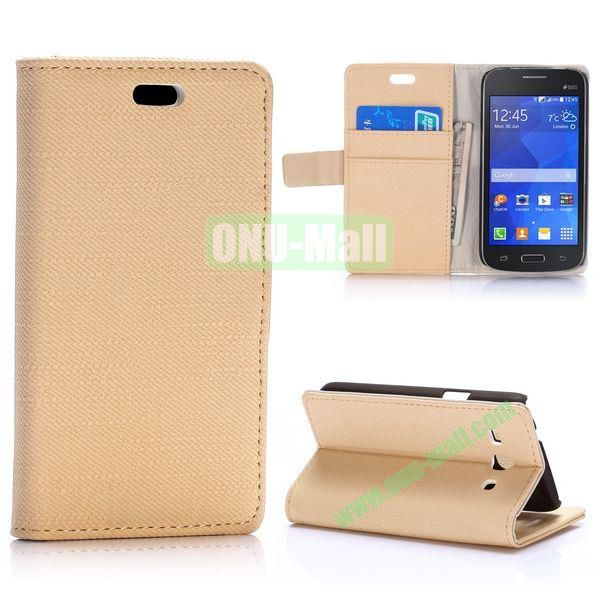 Cloth Texture Wallet Style Magnetic Flip Stand Leather Case for Samsung Galaxy Star 2 Plus G350E with Card Slot (Beige)