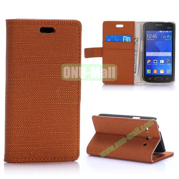 Cloth Texture Wallet Style Magnetic Flip Stand Leather Case for Samsung Galaxy Star 2 Plus G350E with Card Slot (Brown)