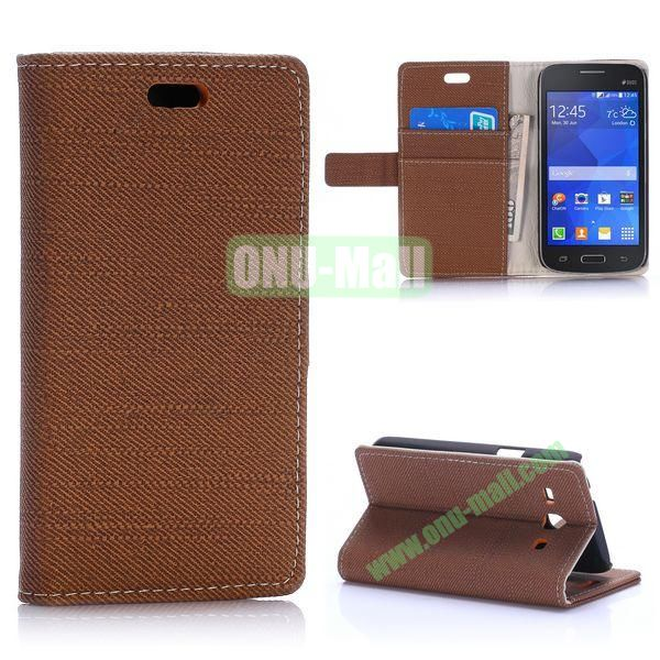 Cloth Texture Wallet Style Magnetic Flip Stand Leather Case for Samsung Galaxy Star 2 Plus G350E with Card Slot (Coffee)