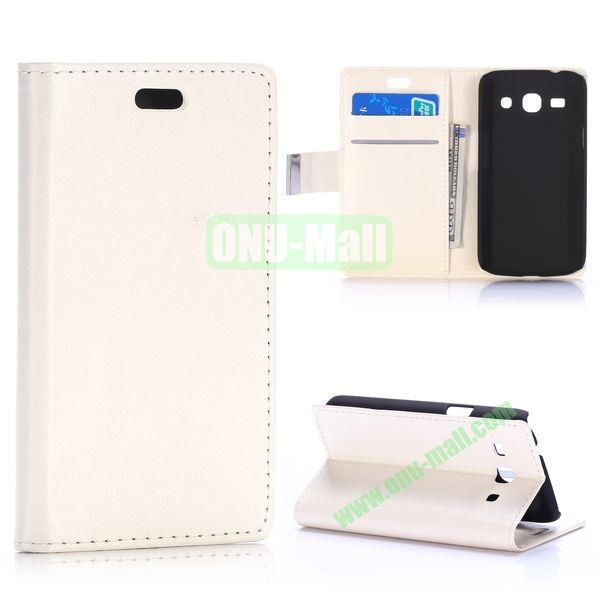 Crazy Horse Texture Magnetic Flip Stand Leather Case for Samsung Galaxy Star 2 Plus G350E with Card Slots (White)