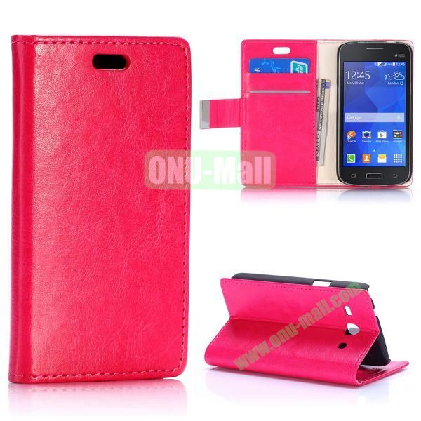 Crazy Horse Texture Magnetic Flip Stand Leather Case for Samsung Galaxy Star 2 Plus G350E with Card Slots (Rose)